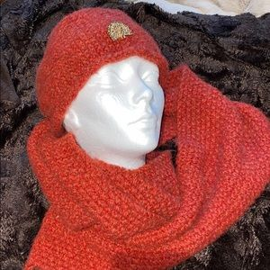 Hand knitted hat and infinity scarf